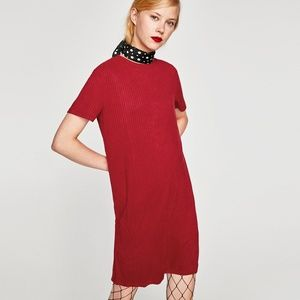 NWT Zara Size M Red Ribbed Faux Suede Dress